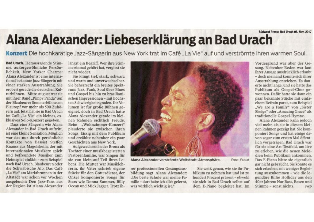 Alana Alexander Café La Vie Bad Urach Jazz Soul Konzert Veranstaltung