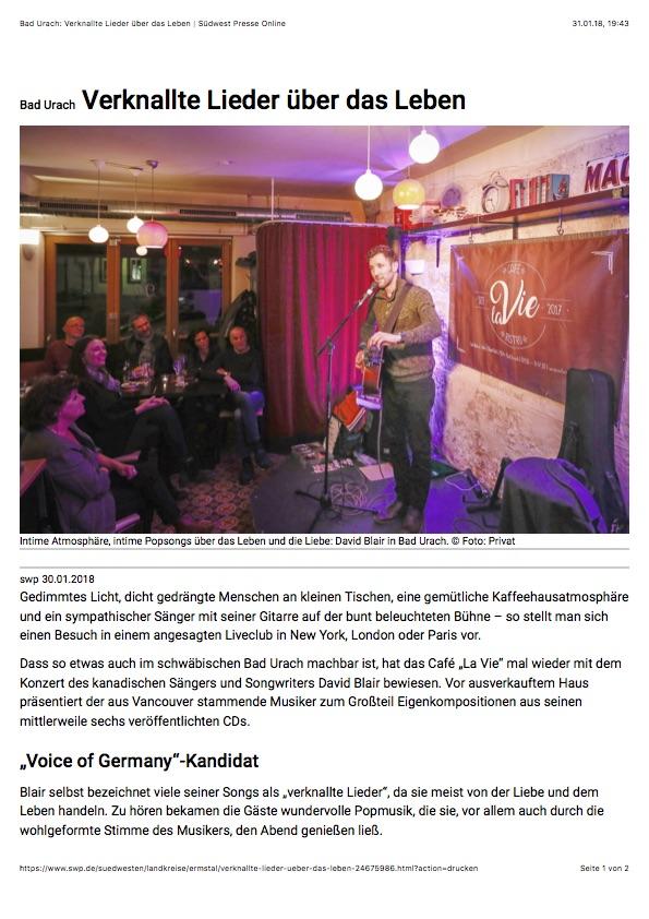 David Blair Cafe La Vie Bad Urach Presse