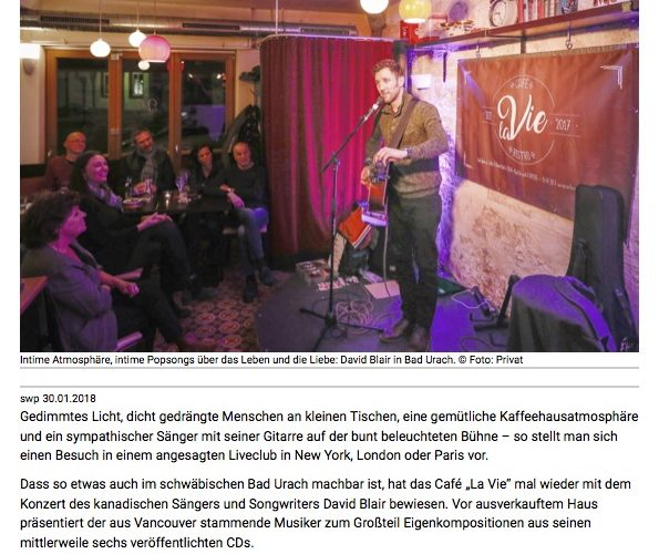 David Blair Cafe La Vie Bad Urach Presse
