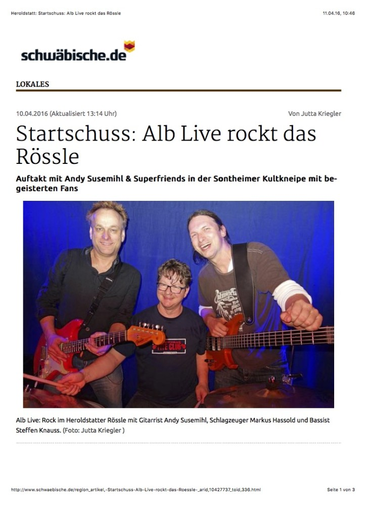Heroldstatt: Startschuss: Alb Live rockt das Rössle