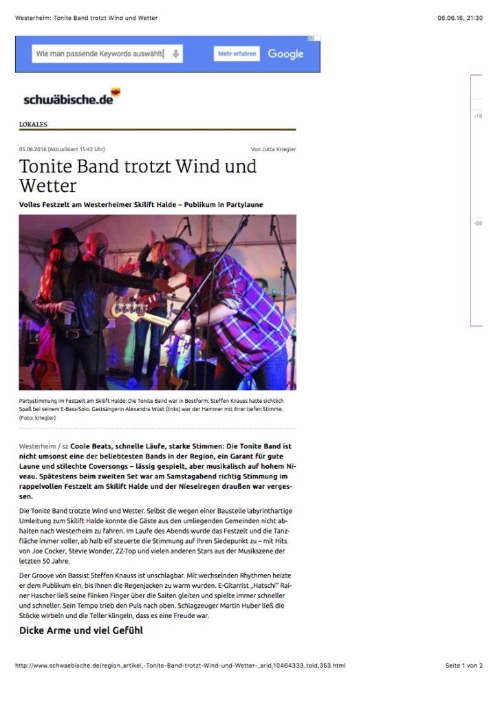 Westerheim: Tonite Band trotzt Wind und Wetter
