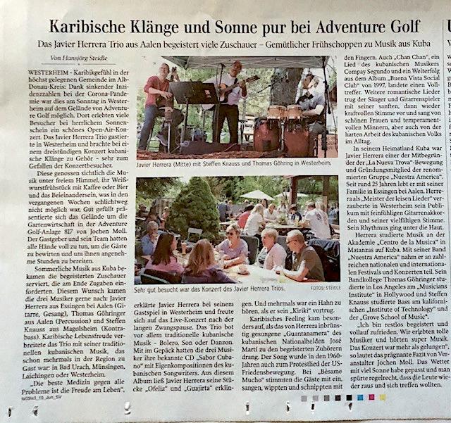 Presse Javier Herrera Trio 817 Adventure Golf Westerheim Konzert